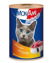 """Консервы для кошек Mon Ami Delicious """"Мясное ассорти"""" 350г"""