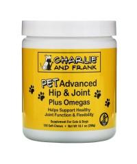 Charlie & Frank, Улучшенная формула для здоровья суставов животных с омега-кислотами, для кошек и собак, 120 мягких жевательных таблеток