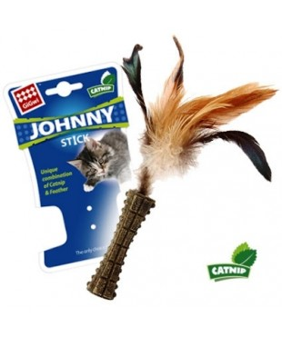 Игрушка для кошек Прессованная кошачья мята с пером 16см