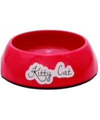 Beeztees Kitty Миска для кошек меламин нескользящая красная 0,2л*14*4,5см