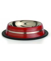 Beeztees Миска для кошек стальная нескользящая красная в полосочку 11см