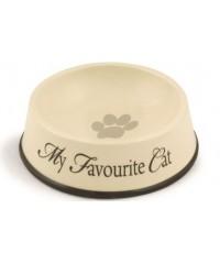 Beeztees My Favorite Миска для кошек керамическая коричневая окантовка 0,29л*13,5*4,5см