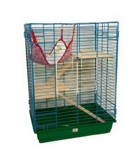 Зоомарк. Клетка для шиншилл и хорьков с деревянными этажами и гамаком 80*60*40см