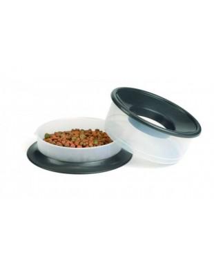 Миска Beeztees Picnic 2в1 для корма и воды, пластиковая антрацитовая 0,8л+1,3л*22*12см