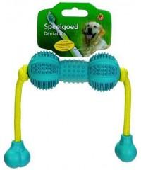 """I.P.T.S. Игрушка для собак """"Гантель шипованная на веревке"""" для ухода за зубами, резина, голубая 9 см."""
