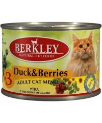 Консервы Berkley для кошек №3 с Уткой и Лесными ягодами 200 г
