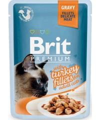 Паучи Brit Premium Gravy Turkey fillets для кошек кусочки филе Индейки в соусе 85 г Х 24 шт