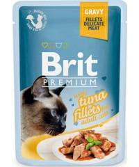 Паучи Brit Premium Gravy Tuna fillets для кошек кусочки филе Тунца в соусе 85 г Х 24 шт