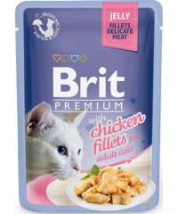 Паучи Brit Premium Jelly Chicken fillets для кошек кусочки с Куриным филе в желе, 85 г Х 24 шт