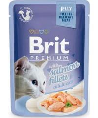 Паучи Brit Premium Jelly Salmon fillets для кошек кусочки из филе лосося в желе, 85 г Х 24 шт