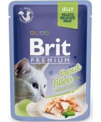 Паучи Brit Premium Jelly Trout fillets для кошек кусочки из филе форели в желе, 85 г Х 24 шт