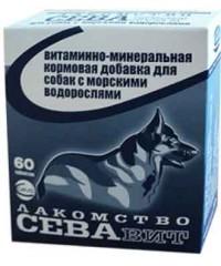 Севавит витаминно-минеральная кормовая добавка для собак с морскими водорослями 60таб