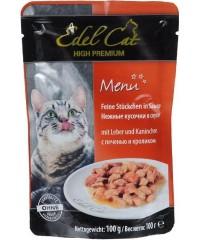 Паучи Edel Cat для кошек с Печенью и Кроликом кусочки в соусе 100 г. х 20 штук.