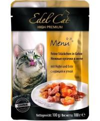 Паучи Edel Cat для кошек с Курицей и Уткой кусочки в желе 100 г. х 20 штук.