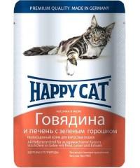 Влажный корм Happy Cat для кошек с Говядиной и Печенью с зеленым горошком кусочки в желе 100г х 22шт.