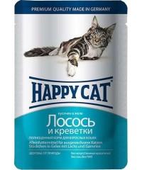 Влажный корм Happy Cat для кошек с Лососем и Креветками кусочки в желе 100г х 22 шт.