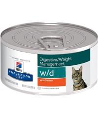 Консервы Hill's Диета для кошек W/D лечение сахарного диабета, запоров, колитов, контроль веса 156 г. х 12 штук.