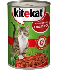 Консервы Kitekat для кошек с Говядиной 410 г. х 24 штуки.