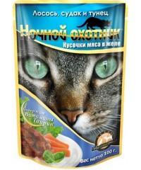 Влажный корм Ночной Охотник для кошек Лосось, Судак и Тунец кусочки в соусе 100г х 24 штуки