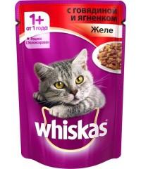Паучи Whiskas для кошек желе с Говядиной и Ягнененком 85г х 24 штуки