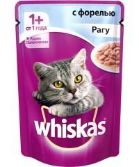 Паучи Whiskas для кошек рагу с Форелью 85г х 24 штуки