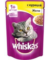 Паучи Whiskas для кошек желе с Курицей 85 г. х 24 штуки.
