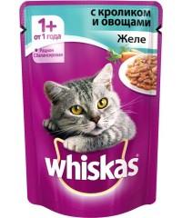Паучи Whiskas для кошек желе с Кроликом и Овощами 85 г х 24 штуки