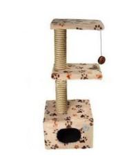 Зооник Домик-когтеточка с 2-мя площадками (мех) 40*36*98 см.