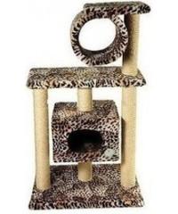 Зооник Дом для кошек 2-х этажный с трубой (мех) 61*53*105 см.